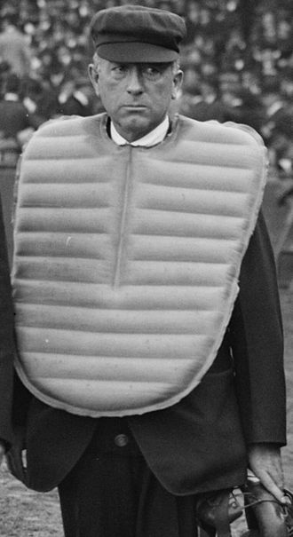 Umpire (baseball) - Umpire Tom Connolly shown with the outside chest protector worn by AL home plate umpires for much of the 20th century
