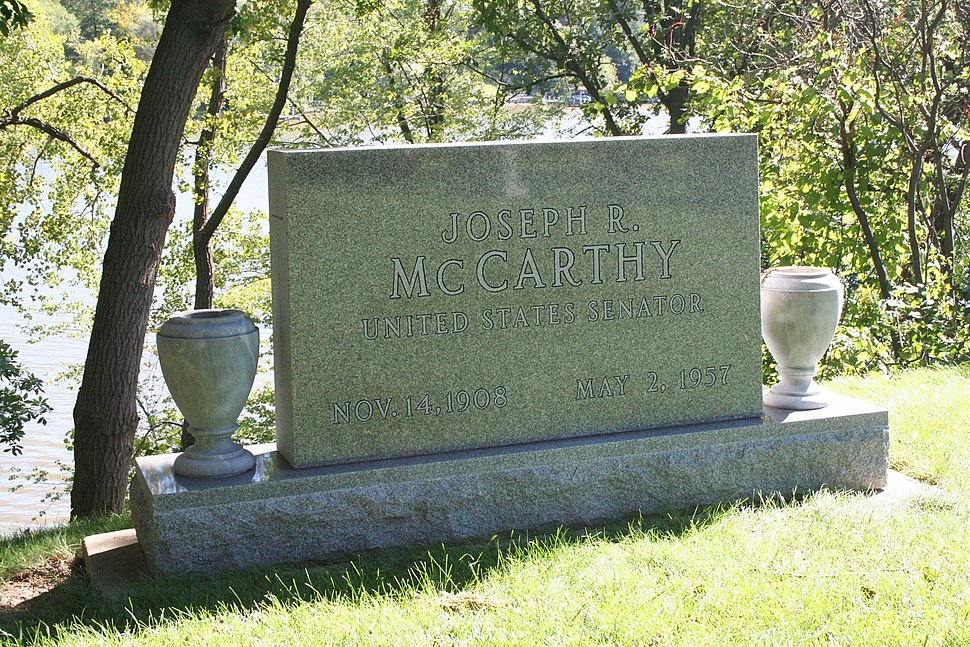 Tombstone of Joseph McCarthy from left