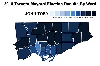 John Tory - The percentage of the vote won by John Tory in each municipal ward in Toronto's 2018 mayoral election.