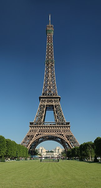 The Eiffel Tower as seen from the Champ de Mars.(http://upload.wikimedia.org/wikipedia/commons/thumb/a/a8/Tour_Eiffel_Wikimedia_Commons.jpg/324px-Tour_Eiffel_Wikimedia_Commons.jpg)