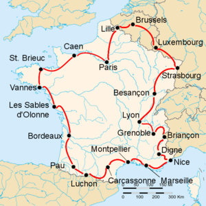 Route of the 1947 Tour de France followed clockwise, starting and finishing in Paris