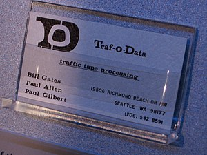 Traf-O-Data - Business card showing the names of Gates, Allen, and Gilbert from the New Mexico Museum of Natural History and Science