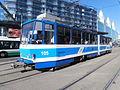 Tram 105 at Hobujaama Stop in Tallinn 12 June 2015.JPG