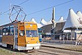 Tram in Sofia in front of Central Railway Station 2012 PD 075.jpg