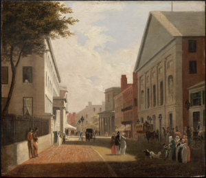 Tremont Theatre, Boston - Tremont Theatre (at right), Tremont Street, Boston, ca.1843 (Museum of Fine Arts, Boston)