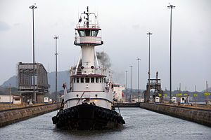 Tug in the Miraflores Lock, Panama Canal.jpg