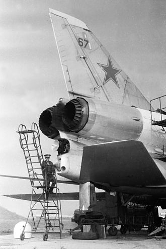 Tupolev Tu-22 - Soviet engineer checks the 23-mm R-23 cannon in remotely controlled tail turret