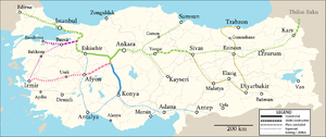 Turkish high-speed rail network in service, under construction, and planned