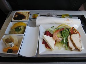 Airline meal - Turkish Airlines Business class meal on an Istanbul to Cairo flight