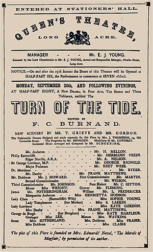 Queen's Theatre, Long Acre - 1869 programme