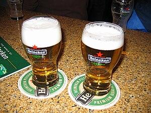 Heineken - Two glasses of Heineken beer