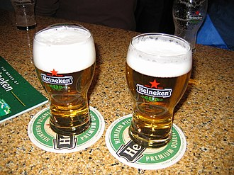 Heineken - Two glasses of Heineken beer