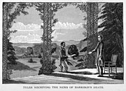 """An illustration: Tyler stands on his porch in Virginia, approached by a man with an envelope. Caption reads """"Tyler receiving the news of Harrison's death."""""""
