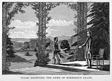 "An illustration:Tyler stands on his porch in Virginia, approached by a man with an envelope. Caption reads ""Tyler receiving the news of Harrison's death."""