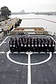 "U.S. Coast Guardsmen with the Bay Area Chief's Mess hold letters spelling the words ""No Bystanders"" on the flight deck of the cutter USCGC Stratton (WMSL 752) in Alameda, Calif., April 3, 2013 130403-G-DN217-033.jpg"