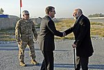 U.S. Defense Secretary Ash Carter exchanges greetings with Afghan Defense Minister Masoom Stanekzai on Forward Operating Base Fenty in Jalalabad, Afghanistan, Dec. 18, 2015.JPG