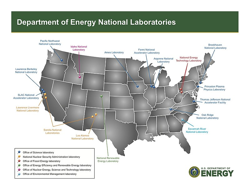 The 13 National Laboratories of DoE in 2010.