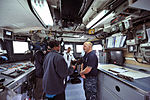 U.S. Navy Aviation Structural Mechanic 2nd Class Ryan Kidman, right, assigned to Strike Fighter Squadron (VFA) 106, answers questions from media aboard the patrol coastal ship USS Hurricane (PC 3) in Milwaukee 120809-N-YZ751-045.jpg