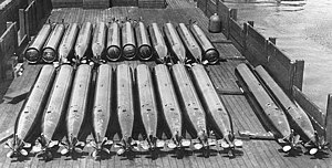 U.S. Navy Bliss-Leavitt Mark 8 torpedoes on a barge, circa in 1925 (NH 82563).jpg