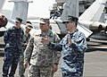 U.S. Navy Capt. Jeff Ruth, right, the commanding officer of the aircraft carrier USS Nimitz (CVN 68), talks to Army Gen. James D. Thurman, the commander of the United Nations Command, Republic of Korea - United 130511-N-KE148-264.jpg