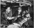 U.S. Navy seaman relaxes as two Coast Guardsmen scrape a thick coating of oil from his body. The survivor's ship, the... - NARA - 513170.tif
