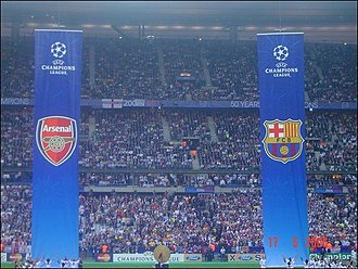 2006 UEFA Champions League Final - The team flags hoisted above the pitch before the kick-off