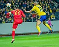 UEFA EURO qualifiers Sweden vs Romaina 20190323 Robin Quaison and Christian Sapunaru.jpg
