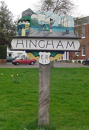 Hingham, Norfolk - Village sign in Hingham