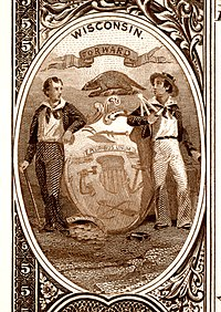 Wisconsin state coat of arms from the reverse of the National Bank Note Series 1882BB