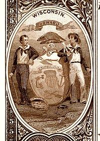 Ulusal Banknot Serisi 1882BB'nin tersinden Wisconsin eyalet arması