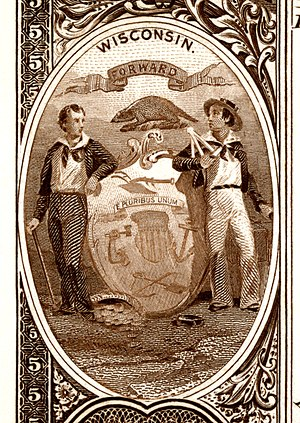 Seal of Wisconsin - Wisconsin state seal (first type) depicted on the reverse of Series 1882BB National Bank Note (1851)