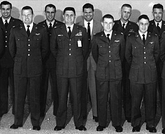Gordon Cooper - USAF Experimental Flight Test School Class 56D. Front row: Captains Gordon Cooper, James Wood, Jack Mayo and Gus Grissom.