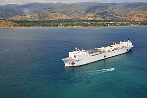 "USNS Mercy (T-AH-19) - Mercy anchored in Dili, East Timor, as part of ""Pacific Partnership 2008."""