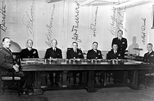 General Board of the United States Navy - The General Board of the U.S. Navy in November, 1947. From left to right: Colonel Randolph M. Pate; Admiral Walter F. Boone; Admiral Charles H. McMorris; Admiral John H. Towers; Rear Admiral Charles B. Momsen; Captain Leon J. Huffman; Commander J.M Lee; Captain Arleigh A. Burke