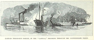 USS Cayuga (1861) - Cayuga at the Battle of Forts Jackson and St. Philip