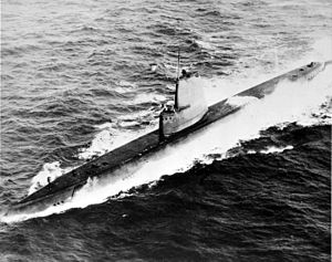 USS Clamagore (SS-343), some time after her GUPPY conversion, c. post 1948.