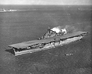 USS Essex (CV-9) - Image: USS Essex (CV 9) in Hampton Roads on 1 February 1943 (NNAM.1996.488.242.0 78)