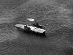 USS Hornet (CV-8) with USS Russell (DD-414) at Santa Cruz 1942.JPG