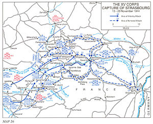 Liberation of Strasbourg - The routes taken by US and French forces involved in the liberation of Strasbourg