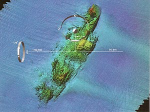 Multibeam echosounder - A multibeam image of the USS ''Susan B. Anthony'' (AP-72) shipwreck off the coast of France.