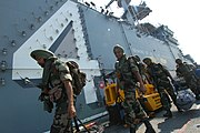 US Navy 061025-N-0209M-003 Indian Soldiers assigned to the 9th Battalion of the Sikh Infantry arrive aboard USS Boxer (LHD 4) to participate in Malabar 2006