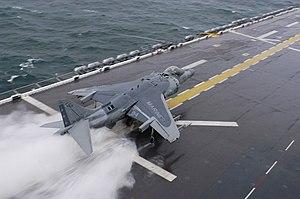 Rolls-Royce Pegasus - USMC Harrier short-takeoff run on wet deck.