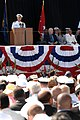 US Navy 080918-N-8273J-094 Chief of Naval Operations (CNO) Adm. Gary Roughead delivers his remarks during the christening and launch ceremony of USNS Carl Brashear (T-AKE 7) at General Dynamics NASSCO shipyard.jpg