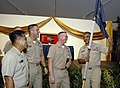 US Navy 081004-N-9818V-190 Newly-pinned chief petty officers present their guide-on to Master Chief Petty Officer of the Navy (MCPON) Joe R. Campa Jr. during the 2008 Khaki Ball at the Pacific Island Club.jpg