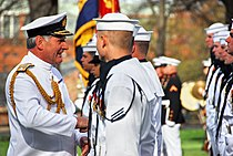 US Navy 090413-N-8732C-036 dm. Sir Jonathon Band, GCB, ADC, First Sea Lord and Chief of Naval Staff of the Royal Navy, left, speaks with a Sailor from the U.S. Navy Ceremonial Guard at the Washington Navy Yard.jpg