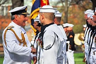 Jonathon Band - Admiral Sir Jonathon Band speaks with a sailor from the U.S. Navy Ceremonial Guard, Washington Navy Yard (2009)