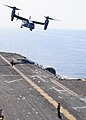 US Navy 091002-N-3165S-281 An MV-22B Osprey assigned to Marine Medium Tiltrotor Squadron (VMM) 263 (Reinforced), 22nd Marine Expeditionary Unit (22nd MEU), takes off from the flight deck of the multi-purpose amphibious assault.jpg