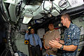 US Navy 110815-N-NK458-018 Cmdr. T.R. Buchanan, commanding officer of the Los Angeles-class attack submarine USS Albany (SSN 753), explains sonar r.jpg