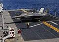 US Navy 111003-N-ZZ999-006 An F-35B Lightning II makes the first vertical landing on a flight deck at sea aboard the amphibious assault ship USS W.jpg