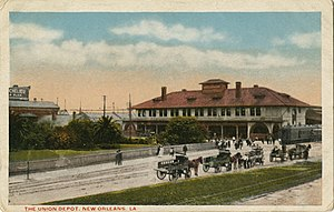 New Orleans Union Station - Union Depot New Orleans Postcard Wagons